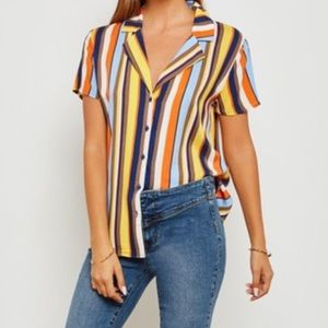 💎 Forever 21 Multi Color Striped Button Up Top S